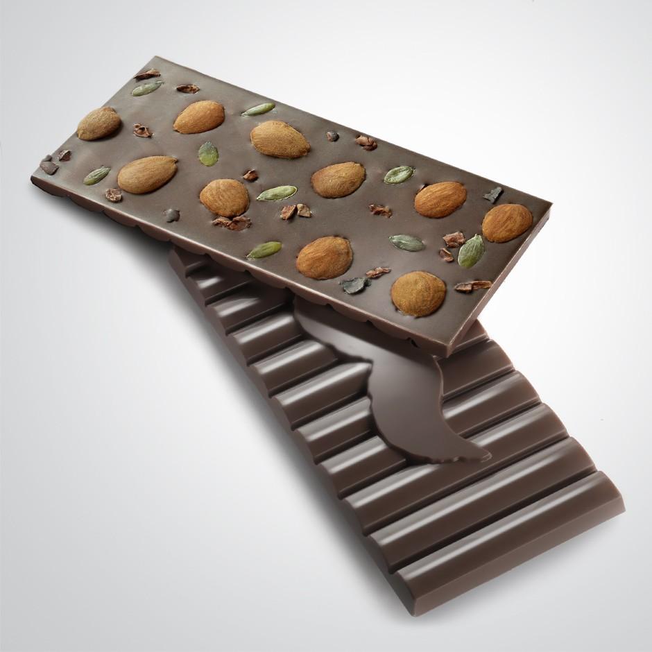 CHOCOLATE NEGRO 70% CON ALMENDRA Y STEVIA
