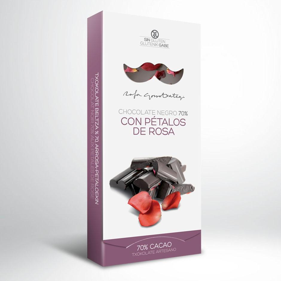 CHOCOLATE NEGRO 70% CON PÉTALOS DE ROSA