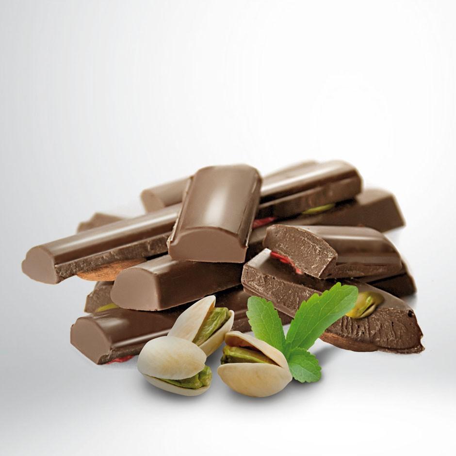 CHOCOLATE CON LECHE 45% CON PISTACHOS Y STEVIA